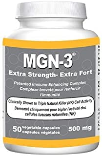 MGN-3 500mg DOUBLE STRENGTH BioBran Arabinoxylan Compound AHCC (50 Vegetarian Capsules) by Lane Labs (MGN3 MGN 3) Brand: Daiwa Health Development