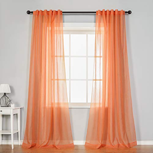 """MYSKY HOME Crushed Voile Sheer Curtains for Living Room Back Tab and Rod Pocket Window Treatment Crinkle Sheer Curtains(2 Panels, 51"""" x 84"""", Orange)"""