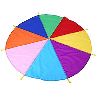 Rainbow Parachute Kids Toy Multicolored Play Tent With 8 Handles Schoolkids Children Outdoor Teamwork Exercise Game 2 Meters:Donald-trump