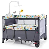 BABY JOY 5-in-1 Baby Bedside Sleeper, Pack n Play with Bassinet, Side Sleeper for Babies w/U-Shaped Diaper Changer, Safety Strap, Music Box & 3 Hanging Toys, Carrying Bag for Transportation (Grey)