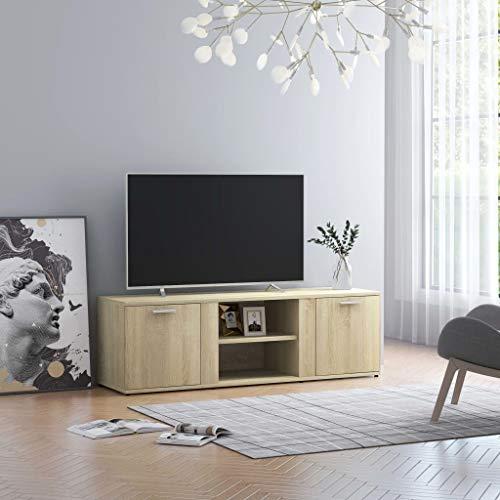 vidaXL TV Schrank mit 2 Türen 2 Fächern TV Möbel Lowboard Fernsehtisch Fernsehschrank Sideboard HiFi-Schrank Sonoma-Eiche 120x34x37cm Spanplatte