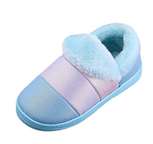 Icegrey Unisex winter warme slippers strepen patroon pluche fleece huis-snoepjes warmtepantoffels blauw 38 39