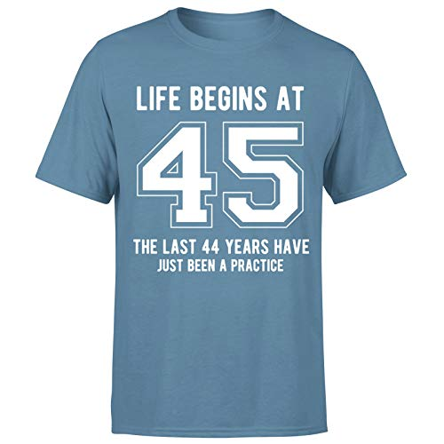 Life Begins at 45 Years Birthday Gift for Him - Camiseta de regalo para hombre
