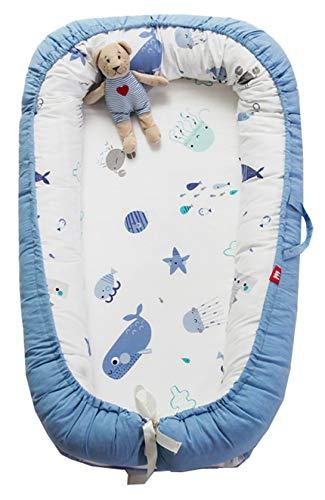 Hayisugar Babynest Nestchen Kuschelnest Matratze im Bett Faltbett Doppelseitig Babybett Weiches und sicheres Baby-Reisebett Babynestchen, Blau Ozean, 90cm x 55cm x15cm