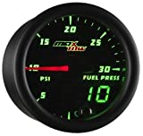 MaxTow Double Vision 30 PSI Fuel Pressure Gauge Kit - Includes Electronic Sensor - Black Gauge Face - Green LED Illuminated Dial - Analog & Digital Readouts - for Diesel Trucks - 2-1/16' 52mm