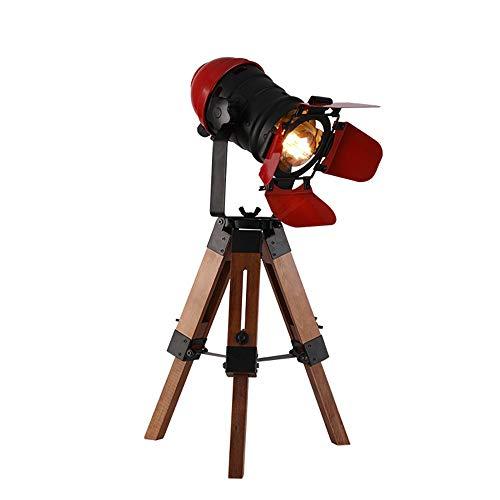 Tafellamp van smeedijzer, retro-industrie, statief van massief hout voor optillen en staande lamp met lichthoek, geschikt voor woonkamer, Size, Rood