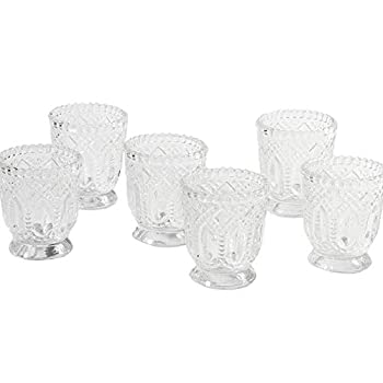 Koyal Wholesale Vintage Glass Candle Holder  Pack of 6  3 x 2.75