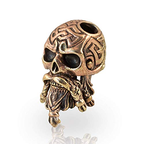 Paracord Bead Celtic Bearded Skull - Metal DIY Paracord Beads Charms EDC Accessories for Custom Bracelet Knife Lanyard Zipper Pull - Handmade Paracord Charms Supplies Crafts