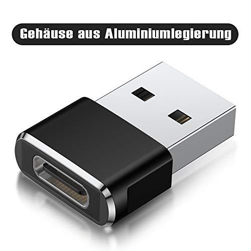 USB C Buchse auf USB Stecker Adapter 3-Stück,Typ C auf A Ladekabel Adapter für iPhone 11 12 Mini Max,XR SE,Airpods iPad 8 Pro 3 Air 4 Generation,S21 21,Samsung Galaxy Note 10 20 S20 Plus Ultra A71 A90