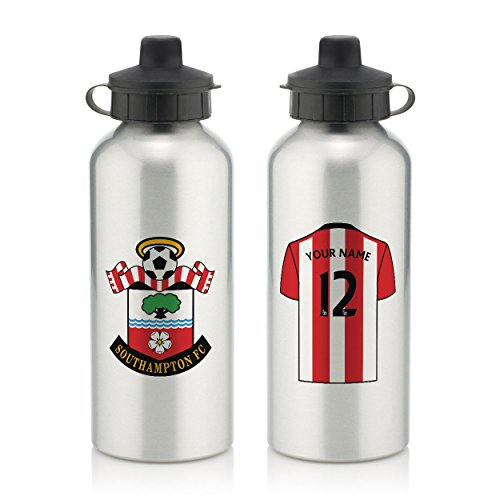 Official Personalised Southampton FC Silver Water Bottle with Spring Hook (600ml) - Silver