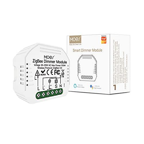 MOES ZigBee Mini Smart Alexa regulador de luz, módulo relé, interruptor inalámbrico LED, compatible con Smart Life Tuya Amazon Alexa Google Home. Funciona solo con Tuya ZigBee Hub, 2MQTT