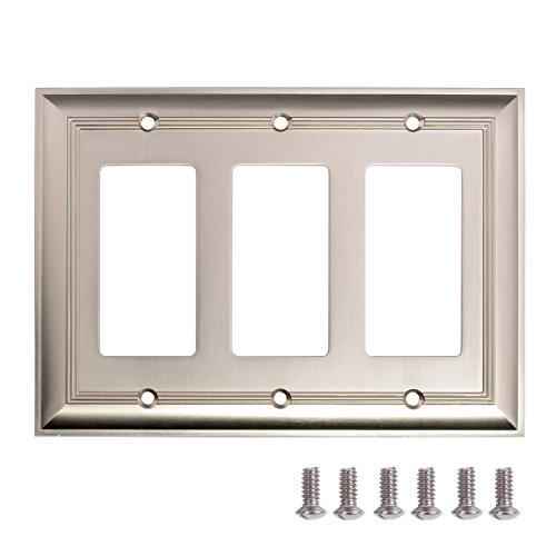 Amazon Basics Triple Gang Light Switch Wall Plate, Satin Nickel, 1-Pack