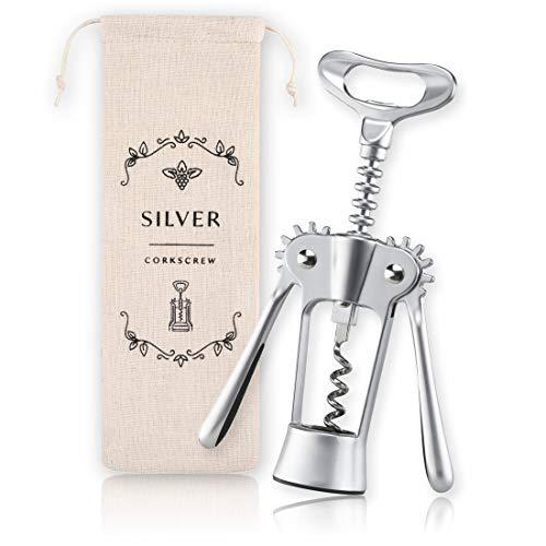 Mr. Ollie Luxe kurkentrekker – wijnopener van roestvrij staal in modern design – flesopener voor wijn & prosecco met linnen zakje – speciaal cadeau-idee.