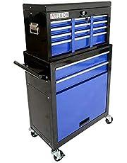 AREBOS Carro de herramientas con ruedas | 8 compartimentos + gran compartimento para tus herramientas | azul y negro | alfombrillas antideslizantes | maletín extraíble y extraíble