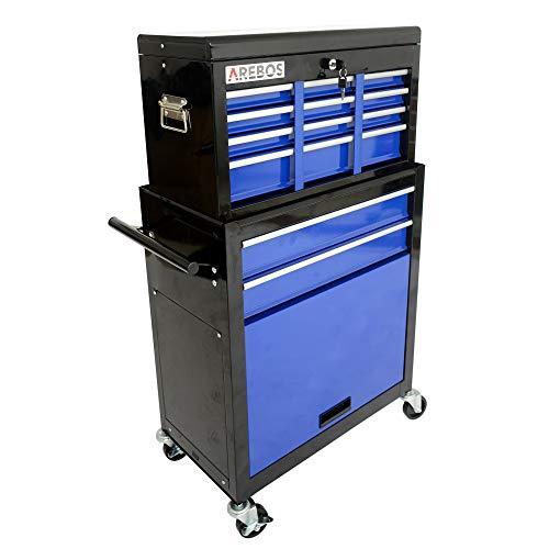 AREBOS Carro de taller con ruedas, 9 compartimentos, azul y negro, alfombrillas antideslizantes, accesorio para maleta móvil y extraíble, mecanismo de cierre central, metal macizo