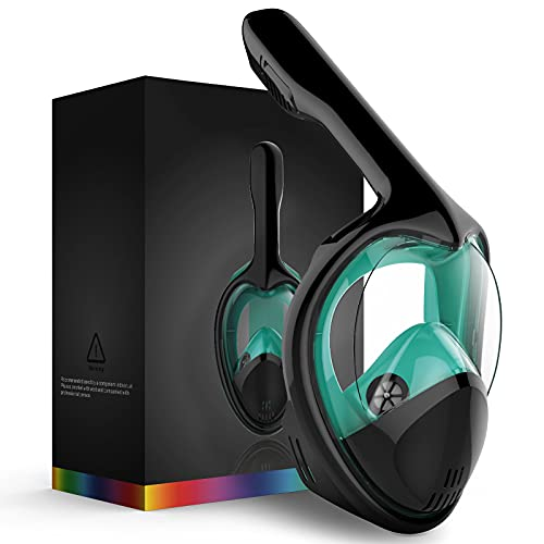 MITO Full Face Snorkel Mask, Snorkeling Gear for Adults,180°Panoramic View Snorkeling Mask with Detachable Camera Mount,Safe Breathing Anti-Fog Anti-Leak Diving Mask for Adults (Green, S/M)