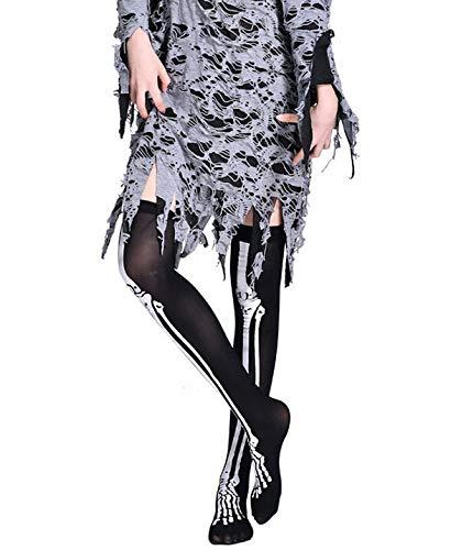 Liusdh damen strumpfhosen 1 Paar Halloween Wind Oberschenkel hohe Socken Strümpfe über dem Knie(Black,B)