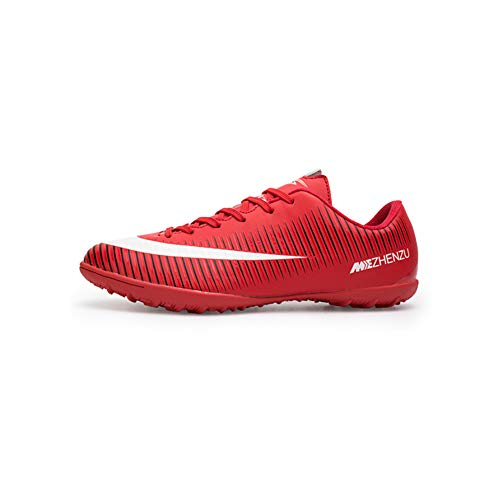 Men Football Boots with Cleats Professional Soccer Shoes for Men and Youth Boys Turf Trainers Lace Up Red