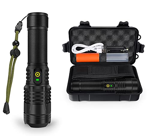 YXQUA XHP70 3000 Lumen Flashlight, Super Bright USB Rechargeable Flashlight, Powerful LED Flashlight with High Lumen, 5 Modes for Emergency, Hiking, with Holster & 26650 Battery Included