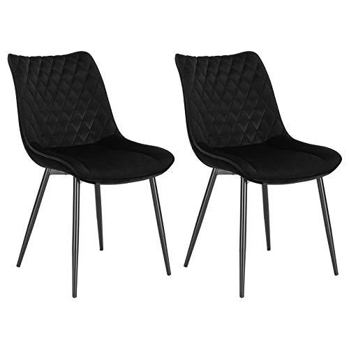 WOLTU® Esszimmerstühle BH209sz-2 2er Set Küchenstuhl Polsterstuhl Wohnzimmerstuhl Sessel mit Rückenlehne, Sitzfläche aus Samt, Metallbeine, Schwarz