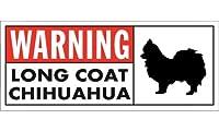 WARNING(Red) LONG COAT CHIHUAHUA ワイドマグネットサイン:ロングコートチワワ Lサイズ