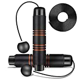 Cordless Jump Rope Exercise Ropeless Jump Ropes - Adjustable Skipping Rope for Indoor Outdoor Fitness Workout, Crossfit Speed Training, Speed Balls Jump Rope for Men, Women, Kids (Orange)