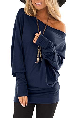 flying rabbit Damen Langarmshirt Damen Shirt Damen Langarm top One Shoulder einfarbig sexy Casual Basic T-Shirt Tops Blouse (Navy, medium)