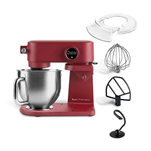 Küchenmaschine Karla 800W, 5,2 L Edelstahl Rührschüssel, Knetmaschine mit Planetenrührwerk inkl. Teighaken, Rührbesen, Schneebesen und Spritzschutz - Rot