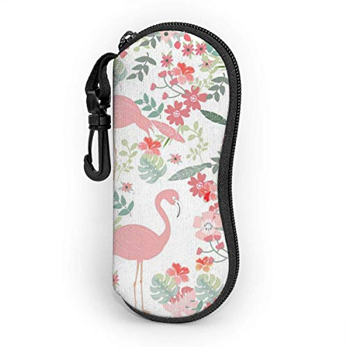 Wthesunshin Funda Gafas Flamingo de patrones sin fisuras en el jardín de flores de primavera Neopreno Estuche Ligero con Cremallera Suave Gafas Almacenaje