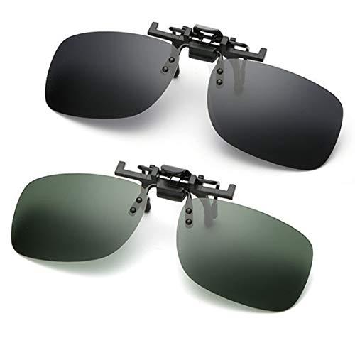 Sonnenbrillen-Clip auf Flip Up polarisierte Linse, Unisex-Sonnenbrille Frameless Rectangle Lens Clip auf Korrekturbrillen Brillenfilter Strong Light für Myopia Glasse/Outdoor/Driving 2-Pack