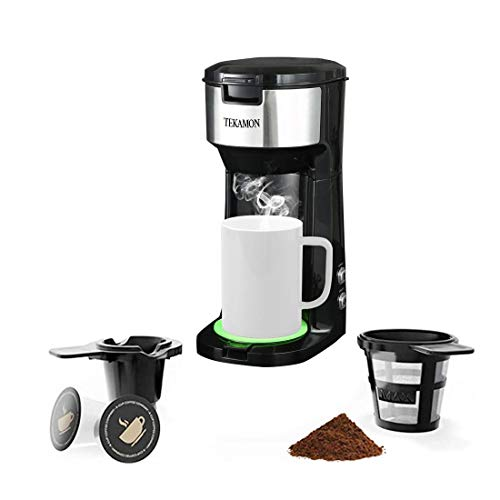Single Serve Coffee Maker For K-Cup Pods & Ground Coffee, Compact Design Thermal Drip Instant Coffee Machine Brewer,with Strength Control and Self Cleaning Function,6-14 Oz Brew Size(with Green Coaster)