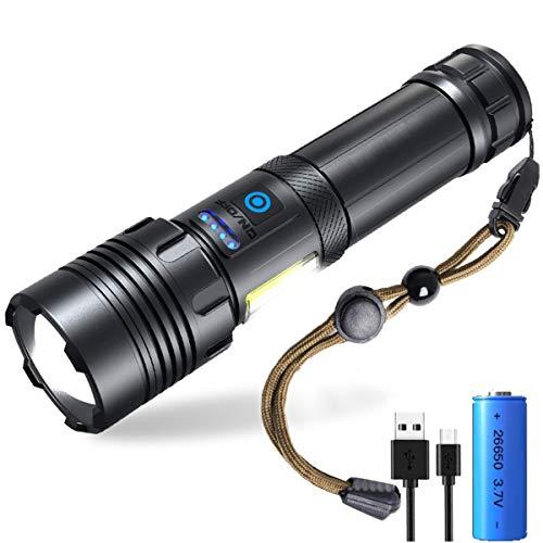 MISSJJ Linterna Led Recargable Alta Potencia, LED y COB 2 en 1 4000 Lúmenes XHP70 Linterna Militar 7 Modos Zoomable IPX6 Impermeable Linterna con Power Bank Función para Emergencia Camping Senderismo