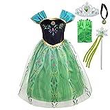 Lito Angels Disfraz de Coronación de Princesa Anna con Accesorios para Niñas, Vestido de Fiesta de Cumpleaños de Halloween, Talla 9-10 años, Verde