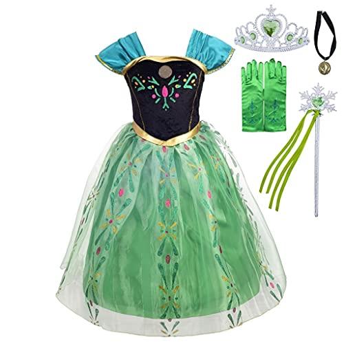 Lito Angels Disfraz de Coronación de Princesa Anna con Accesorios para Niñas Pequeñas, Vestido de Fiesta de Cumpleaños de Halloween, Talla 2-3 años, Verde
