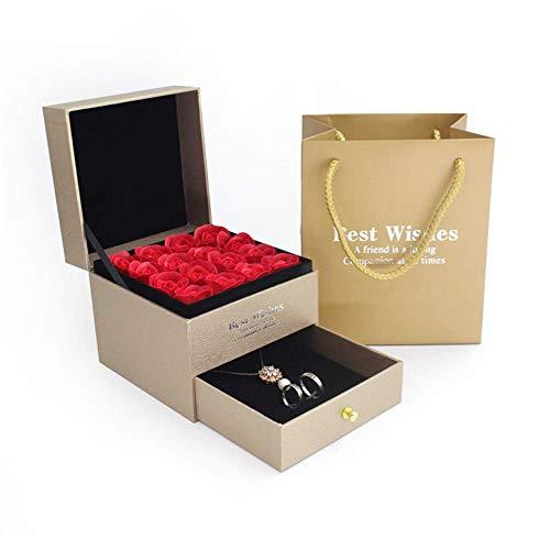 Ramo eterna flor eterna joyería caja preservada Rose perfumado jabón de baño...