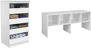 ClosetMaid 4561 Modular Closet Storage Stackable Unit with 4-Drawers, White & 5062 All-Purpose Organizer, White