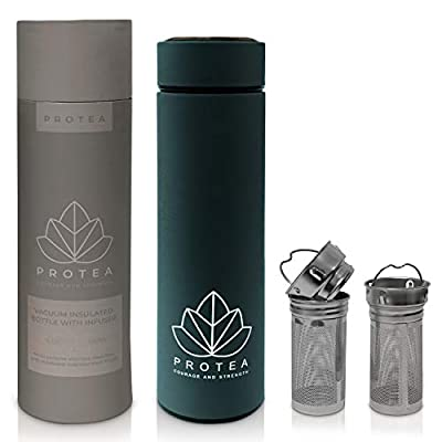 Protea Mug with Infuser - Double Wall Vacuum Container - Tea, Iced Coffee and Fruit Infused Water - Durable Stainless Steel, TWO Long Mesh Infusers - Leakproof, Portable Travel Tumbler (Navy)