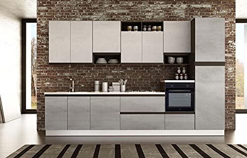 Cucina completa 360 cm mobili base comprensiva di elettrodomestici Beko 360 x 216 x 60 cm cemento maniglie a gola nera - Putch (Colonna frigo destra)