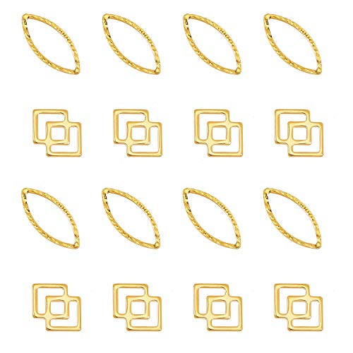 UNICRAFTALE 約60個 2種 菱形 チャーム 目の形 楕円 ステンレス チャーム リンク ステンレス ゴールデン コネクタ メタルチャーム 金属チャーム 枠 フレームチャーム ブレスレットパーツ ネックレスパーツ ジュエリー作り リングチャーム