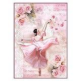 STAMPERIA DFSA4308 A4 Decoupage carta di riso confezionata ballerina con petali, multicolore, 29,7 x 21 cm