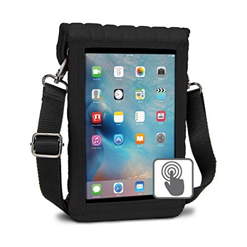 USA Gear Sacoche Bandoulière Tablette 7 Pouces, Support Appuie-Tête Voiture avec Ecran Transparent Tactile - Compatible avec Samsung Galaxy Tab, Apple iPad Mini, Lenovo, Google Nexus, Archos etc- Noir
