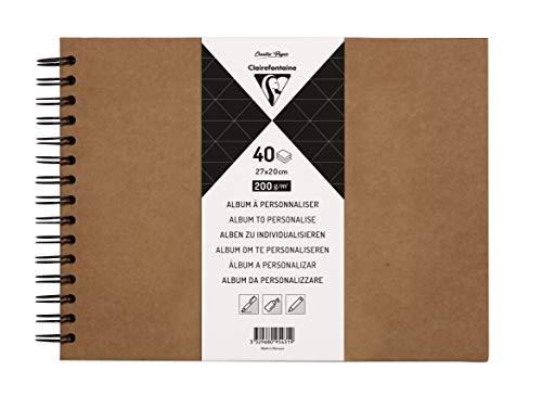 Clairefontaine 95431C - Álbum para personalizar de 40 hojas de papel Kraft, 200 g, formato 27 x 20 cm