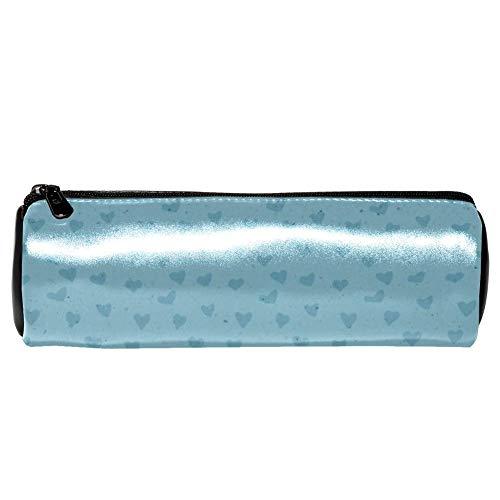 TIZORAX Lederen Potlood Case Pouch Cosmetische Organizer Coin Tas, Blauw Hart Behang, voor Vrouwen Tiener Meisje Jongen