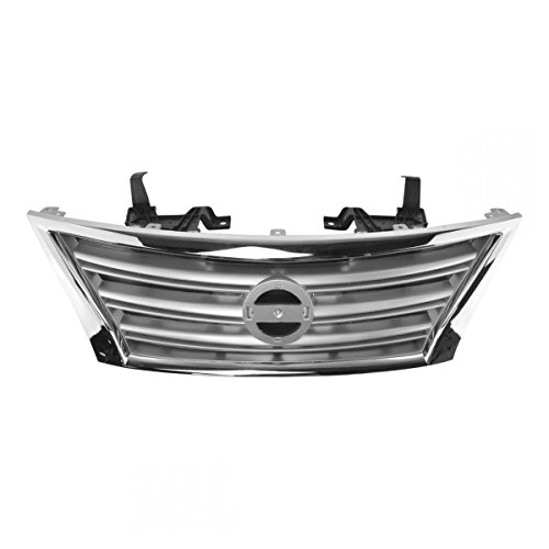 Front Upper Chrome Silver Grill Grille Assembly Compatible With Nissan Sentra S SL SV New