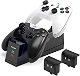 Xbox One Controller Charger, 2.5 Hours Fast Dual Charging Station Xbox One/One X/One S/One Elite Controller Charger, High Speed Docking Charging Station with 2 Rechargeable Battery Packs