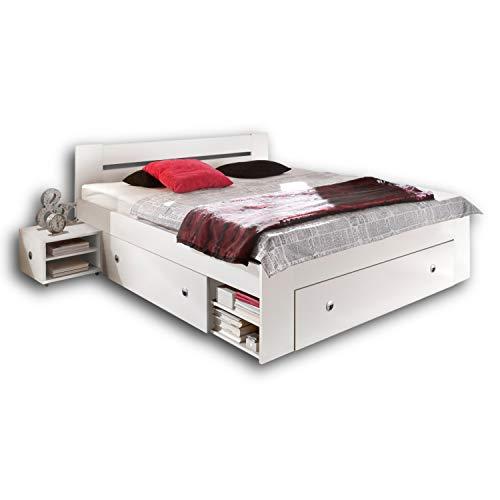 Stella Trading STEFAN Doppelbett Bettanlage 140 x 200 cm mit 2x Nachtkommoden - Schlafzimmer Komplett-Set in weiß - 145 x 86 x 204 cm (B/H/T)