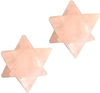 Rose Quartz Merkaba Gemstone Star   1 Inch   2 Pack   Geometric Shape of Astral Beginnings for Divine Meditation Spiritual Healing Positive Energy Therapy Inner Peace Strength Love Luck Past Future
