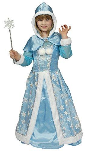 Schneekönigin Kostüm für Mädchen - Hochwertiges Kinderkostüm für Theater, Karneval oder Mottoparty - Eisprinzessin, Eiskönigin, Hellblau/Silber, 116/128
