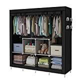 YAYI Portable Wardrobe Clothing Wardrobe Shelves Clothes Storage Organiser with 4 Hanging Rail,Black