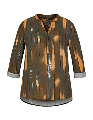 Bexleys Woman by Adler Mode Damen Bedruckte Bluse mit Krempelärmel grau, braun 42